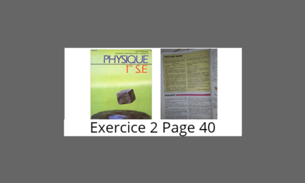 Exercice 2 page 40 Tomasino Physique 1ère S