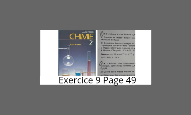 Exercice 9 page 49 Tomasino Chimie 2nde S