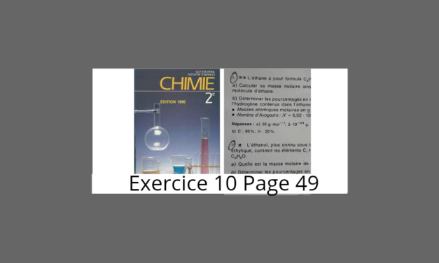 Exercice 10 page 49 Tomasino Chimie 2nde S