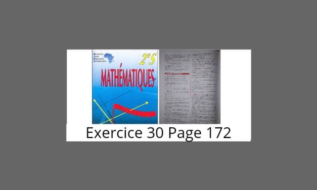 Exercice 30 Page 172 Ciam 2nde S